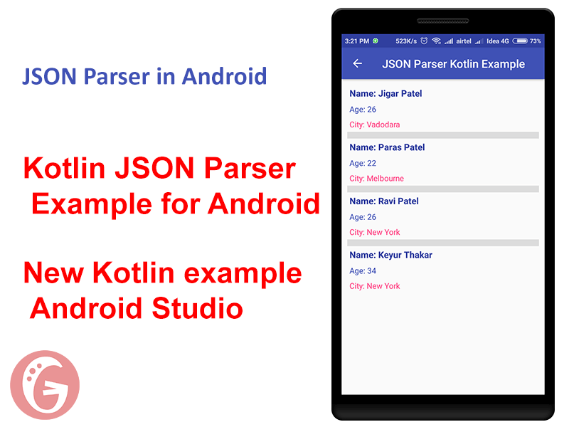 Kotlin JSON Parser Example for Android